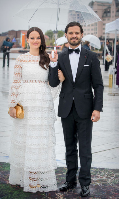 Princess Sofia was a vision in a white, lace-paneled dress along with her husband Prince Carl Philip, who wore a tux to the special evening.