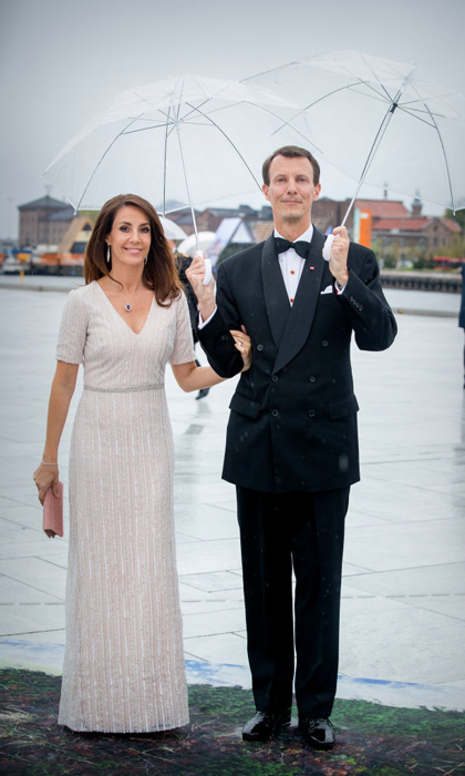 Princess Marie and her husband Prince Joachim joined his brother and sister-in-law for King Harald and Queen Sonjay's two-day party in Oslo where the Princess wore a beaded white gown.