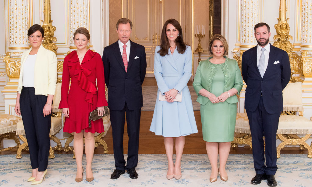Kate Middleton had a royal welcome in Luxembourg. During her one-day, solo trip to Luxembourg, she visited the Grand Ducal Palace where she was greeted by (L-R) Princess Alexandra of Luxembourg, Princess Stephanie of Luxembourg, Henri, Grand Duke of Luxembourg, Maria Teresa, Grand Duchess of Luxembourg and Prince Guillaume. Guillaume and Stephanie later accompanied her to City Museum.