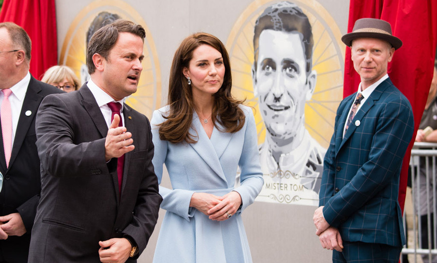 During her visit to the cycling festival, the Duchess of Cambridge and Luxembourg Prime Minister Xavier Bettel unveiled a mural of British cyclist Tom Simpson and Luxembourgish cycling legend Charly Gaul created by British artist James Straffon (right).