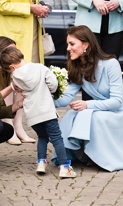 "During her May 2017 trip to Luxembourg, Kate was given flowers from three-year-old Teo Schleck. With a sympathetic look, Kate asked his mom Jil if he was shy. Jil added of their special moment together, ""You can see she's a mum.""