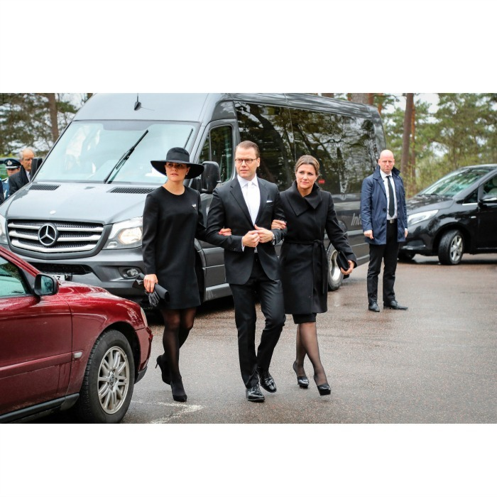After celebrating Queen Sonja and King Harald's birthdays in Norway, Crown Princess Victoria and her husband Prince Daniel returned to Sweden for a somber occasion with Princess Martha Louise of Norway to attend the funeral of Niclas Silfverschioeld at Erska church in Allingsaas, Sweden.