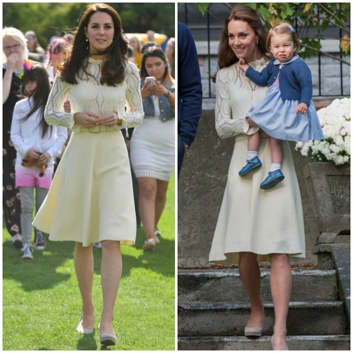 Kate Middleton wore this light yellow See by Chloe dress and gray Monsoon wedges to two different children's parties. The $460 dress was first seen on the royal in Canada in 2016 and then in May 2017 for a party honoring the children of service members who have died while in the armed forces at Buckingham Palace.