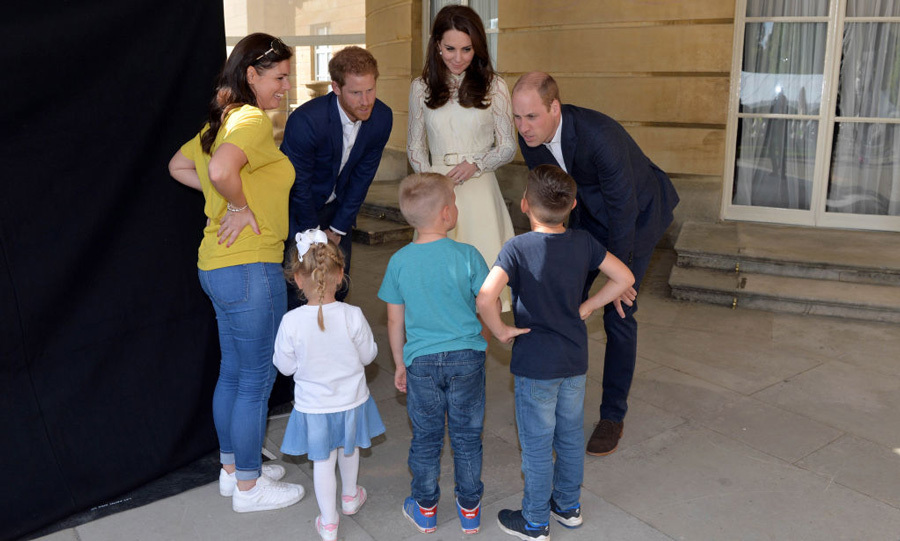 The royal trio spoke with Samantha Davidson and her children Jayden, 8, Jamie, 6, Amelia, 4, backstage during the tea party.