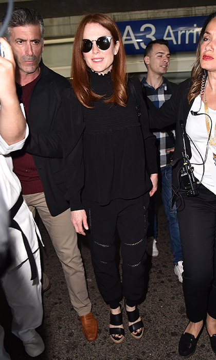 Julianne Moore had it made in the shades as she jetted in to Nice airport ahead of the 70th annual Cannes Film Festival in Cannes, France. 