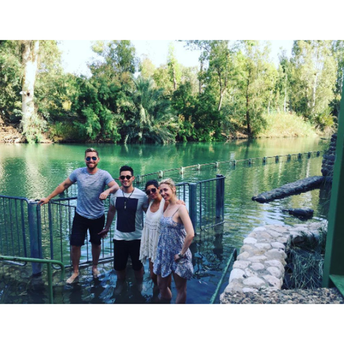 "The group took in the surroundings of the Jordan River. ""My husband Michel and I have always wanted to visit Israel together,"" Lance shares. ""Both of our families' religious roots originate in Israel (I'm Christian and Michael is Jewish) and to experience that history in person is something we'll never forget.""