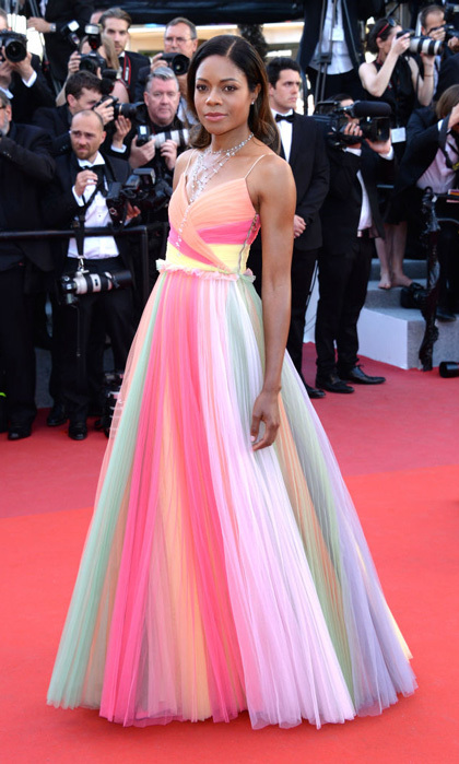 Naomie Harris stunned in a multi-colored Gucci frock to the opening night festivities.