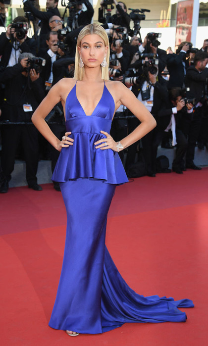 Hailey Baldiwn opted for a royal blue peplum gown for the opening night gala.
