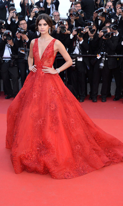 Sara Sampaio matched the red carpet in Zuhair Murad for the first movie premiere of the 70th Cannes Film Festival.
