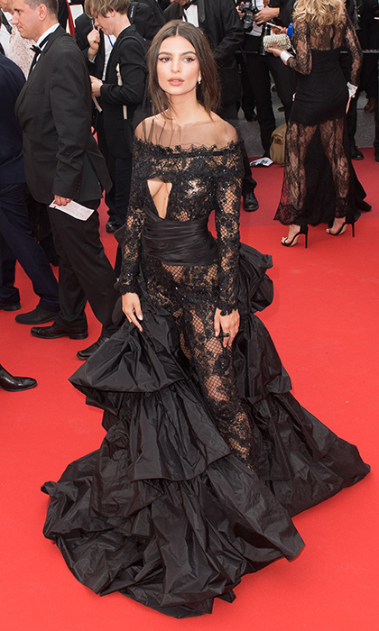 Emily Ratajkowski's daring lace and ruffle Peter Dundas gown nearly stole the show at the <I>Loveless (Nelyubov)</I> screening.