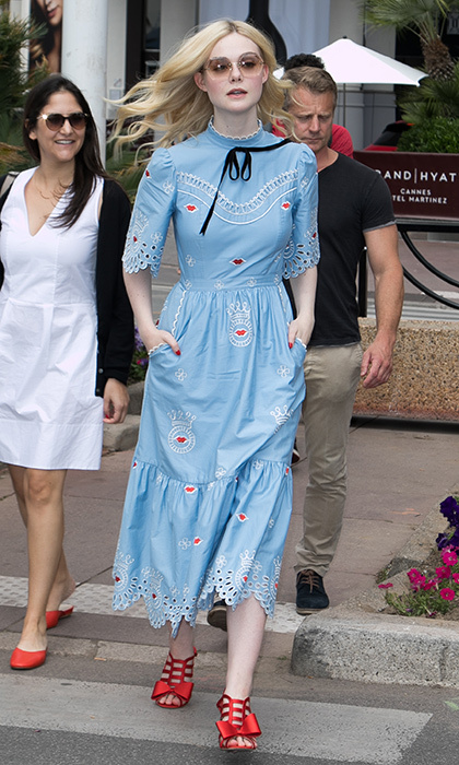 Elle Fanning rocked a stylish 21st century take on Dorothy from the <I>Wizard of Oz</I> as she made her way through the streets of Cannes in Temperley London. 