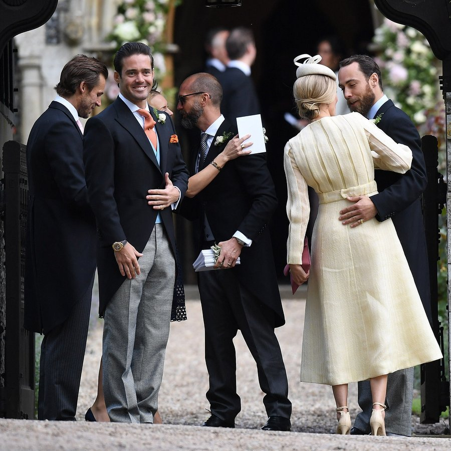 The groom's brother Spencer Matthews was looking proud before the wedding, as James Middleton wrapped his arm around girlfriend Donna Air. 
