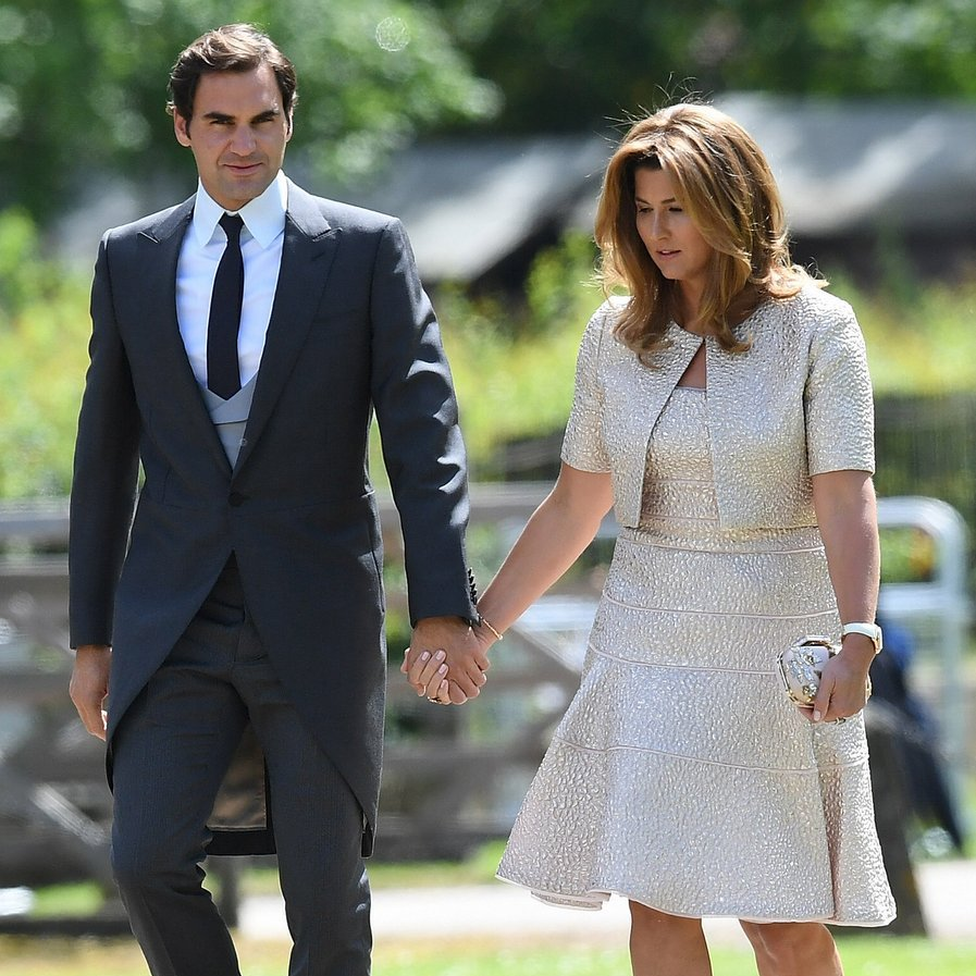 Tennis champ Roger Federer walked up to St. Mark's church hand-in-hand with his wife, Mirka.