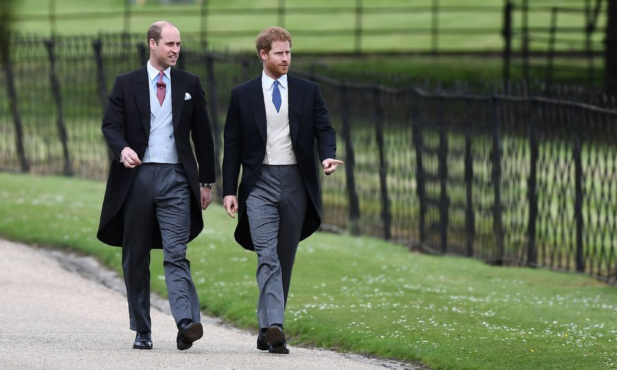 Royal brothers Prince William and Prince Harry were dapper – albeit without their dates, the Duchess of Cambridge and Meghan Markle – as they headed up to St. Mark's Church.