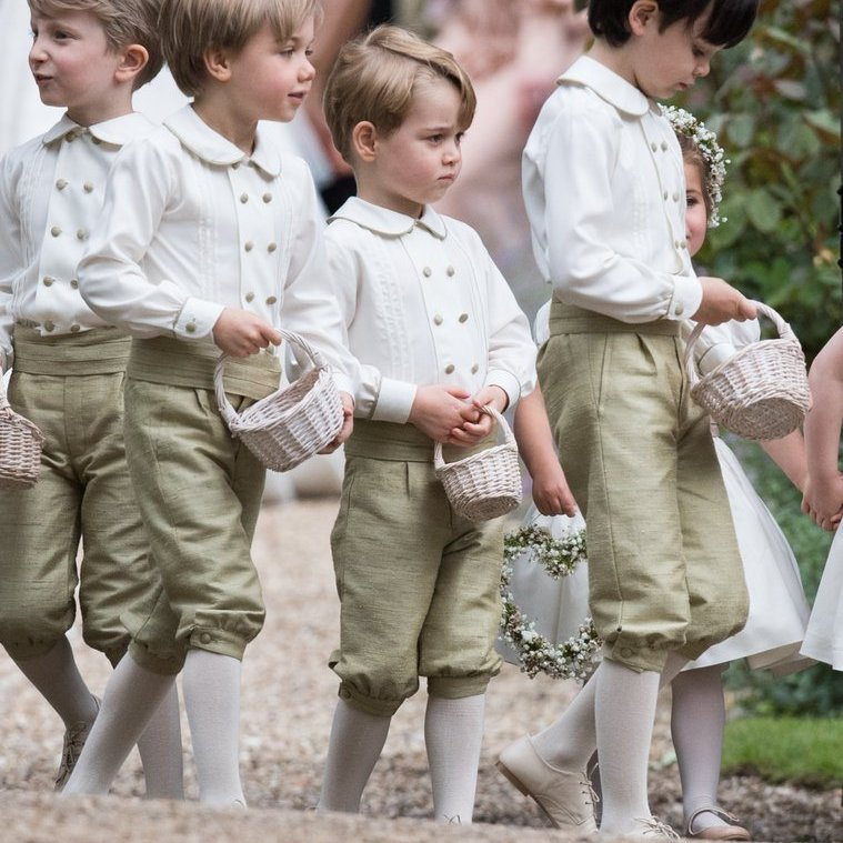 Prince George and the pageboys patiently awaited their next steps after the ceremony.