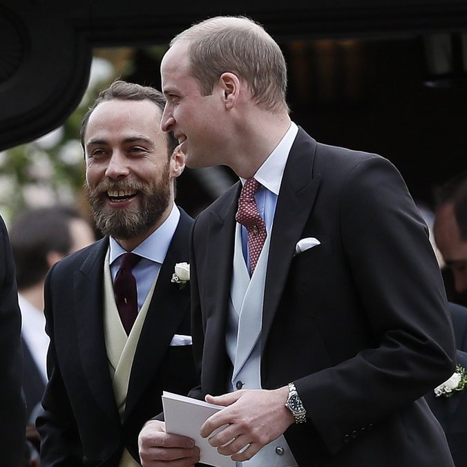 Prince William and his brother-in-law James Middleton shared a laugh as they headed off to continue the celebration.