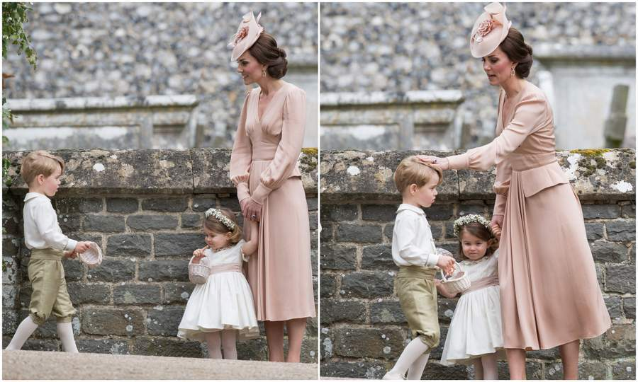 Duchess Kate was spotted looking after George and Charlotte who'd had a big morning playing major roles in the high profile nuptials. The royal tots wore outfits from Pepa & Co. 