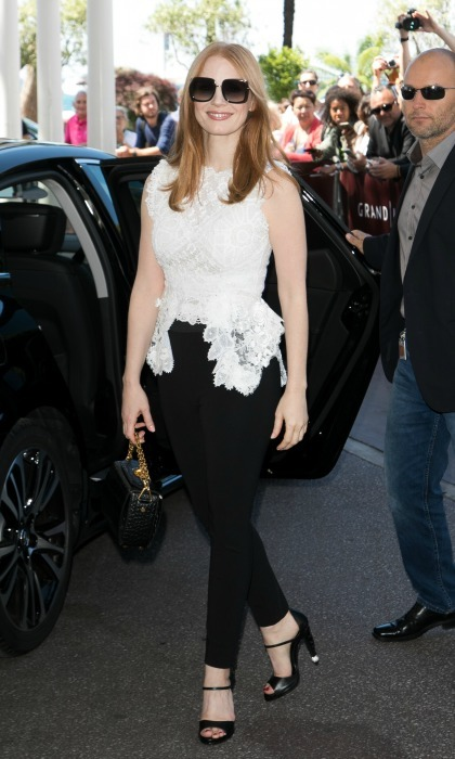 Jessica Chastain beat the Parisian sun in a cool set of shades as she made her way around the city.