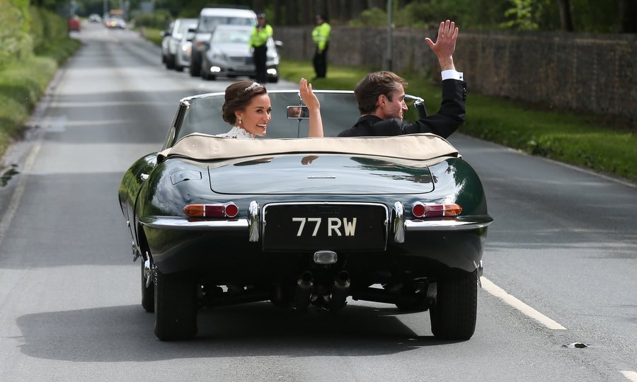 After their vows, Pippa and James drove off from their ceremony in a vintage convertible – echoing sister Kate's 2011 wedding day when she and her Prince did the same. 