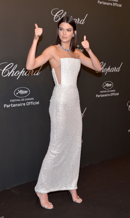 Kendall Jenner gave her approval at the Chopard party in Cannes where she wore a Ralph & Russo structured gown.