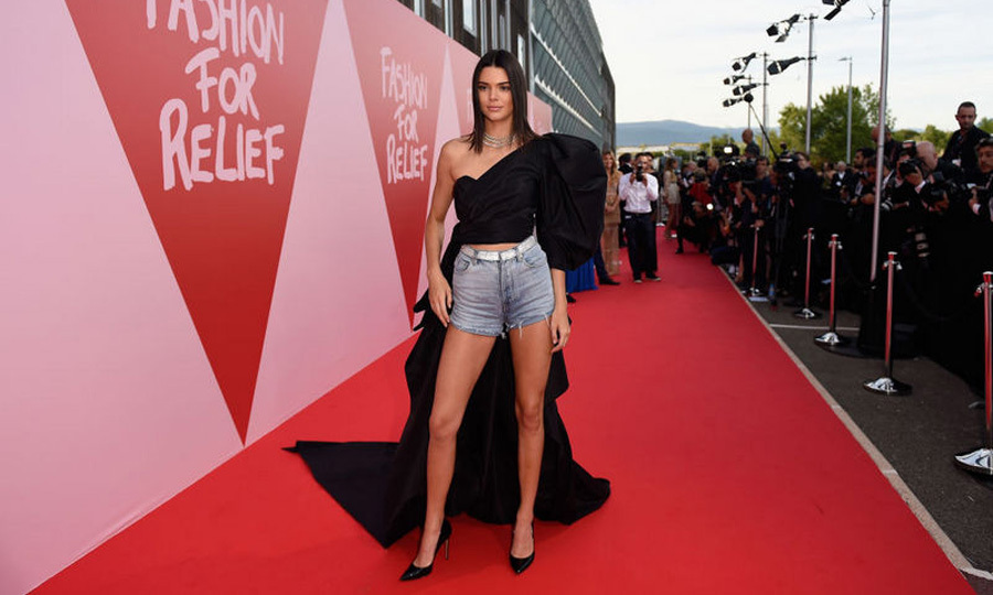Kendall Jenner went casual on the bottom, elegant on top for the Fashion for Relief party in Cannes.