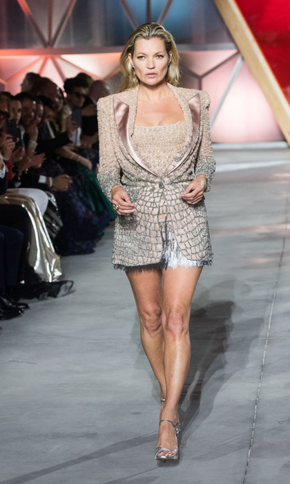 Kate Moss took to the runway for friend Naomi Campbell's Fashion for Relief show which benefits victims of disasters around the world.