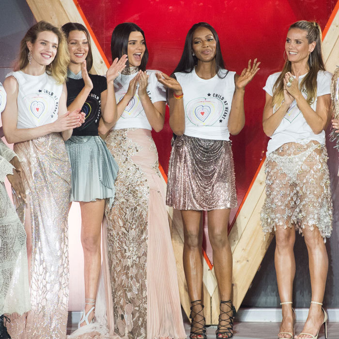 Models unite for a cause! Natalia Vodianova, Bella Hadid, Kendall Jenner, Naomi Campbell and Heidi Klum sparkled during the finale of the Fashion for Relief show.