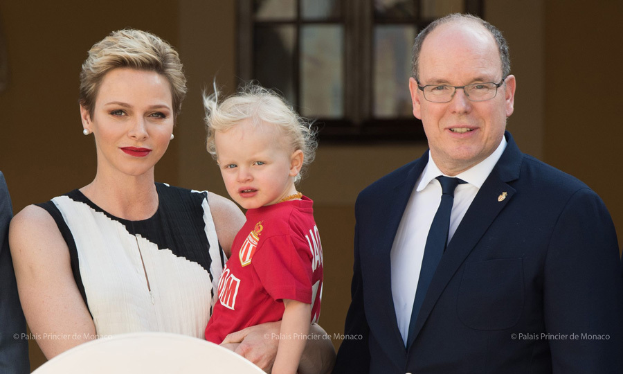 Prince Jacques showed off his personalized soccer jersey as he posed with his parents Princess Charlene and Prince Albert during the celebration for Monaco FC players as they reclaimed the championship title on May 21.