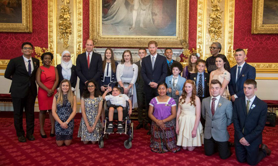 Prince William and Prince Harry posed with the 20 young recipients of the inaugural Legacy Award during the Diana Awards ceremony. 