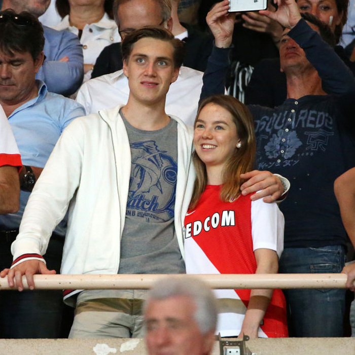 Princess Caroline's daughter Princess Alexandra of Hanover and her boyfriend Ben-Silvester Strautmann watched the French Ligue 1 Championship title celebration following the match between AS Monaco and AS Saint-Etienne (ASSE) at Stade Louis II in Monaco.
