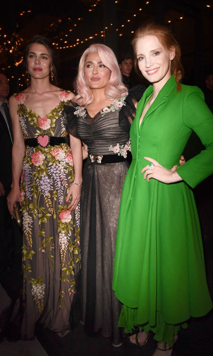 Salma Hayek, who switched up her look with a pink wig, Jessica Chastain and Monaco royal Charlotte Casiraghi got dolled up for the Women in Motion Awards Dinner at Place de la Castre.