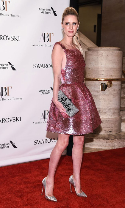 Nicky Hilton wore a pink sequined dress by Oscar de la Renta to the American Ballet's 2017 Gala. To keep all things sparkly, she paired it with her monogrammed Edie Parker clutch and silver shoes.