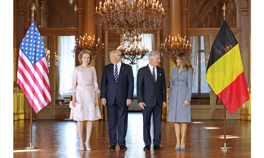 Continuing on their tour of the Middle East and Europe, Donald Trump and Melania flew from Rome to Belgium to meet with Queen Mathilde and King Philippe at the Royal Palace in Brussels on May 24. 