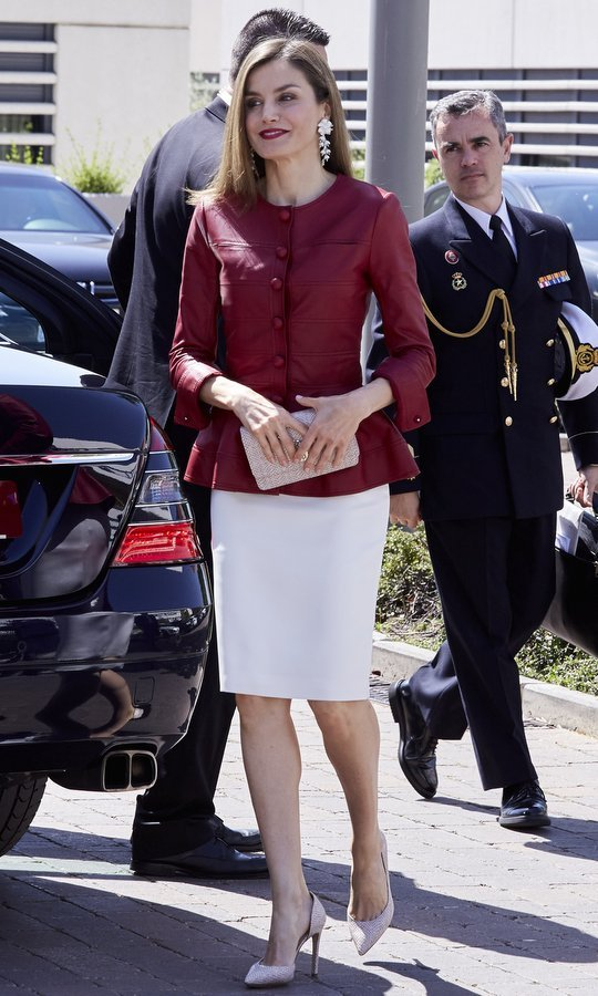 Queen Letizia of Spain rocked a burgundy leather peplum jacket and matching lipstick for a gathering celebrating the 40th anniversary of the Reina Sofia Alzheimer's Foundation in Madrid.