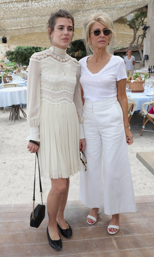 Charlotte Casiraghi, left, with Anne-Florence Schmitt, brought some laid-back royal glamour to Cannes as she attended Kering Women in Motion lunch with Madame Figaro.