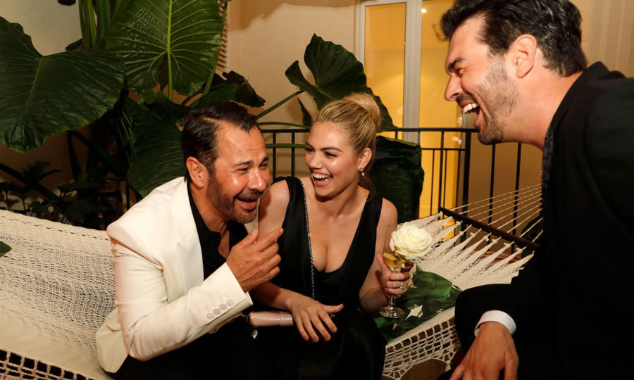 Kate Upton had celebrity hairstylist Ricardo Rojas and his husband Jim Mannino in stitches during the duo's AMORE cocktail reception at the Lemon Lemon Terrace in Cannes.