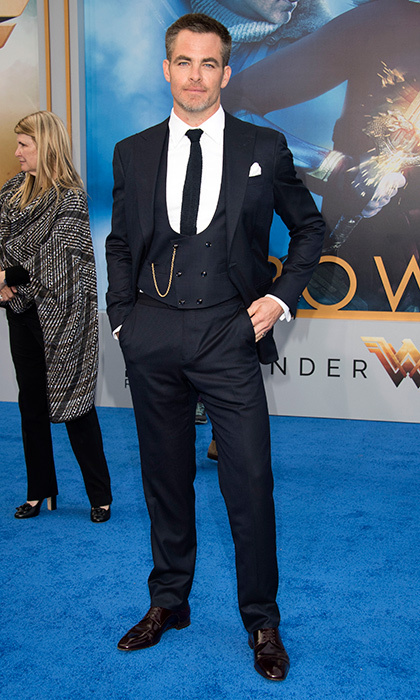 Chris Pine looked every inch the leading man at the <I>Wonder Woman</I> premiere at the Pantages. 