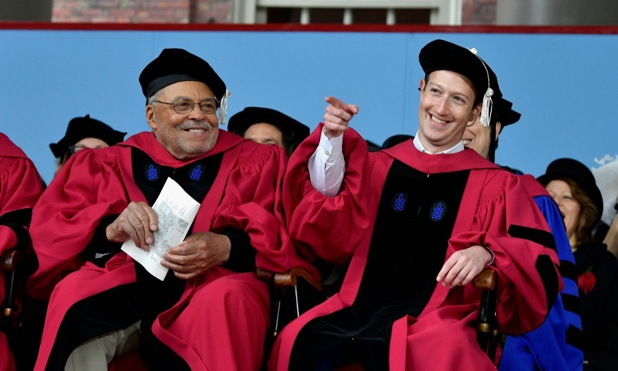 May 26: James Earl Jones (who received an Honorary Doctor of Arts Degree) and Mark Zuckerberg (who received an Honorary Doctor of Laws Degree) were all smiles as they attended the Harvard University graduation where the Facebook CEO delivered the commencement address. 