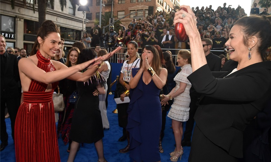 May 25: Passing the torch! <i>Wonder Woman</i>'s Gal Gadot paid homage to the original Princess Diana of Themyscira, Lynda Carter during the film's premiere in Hollywood. 