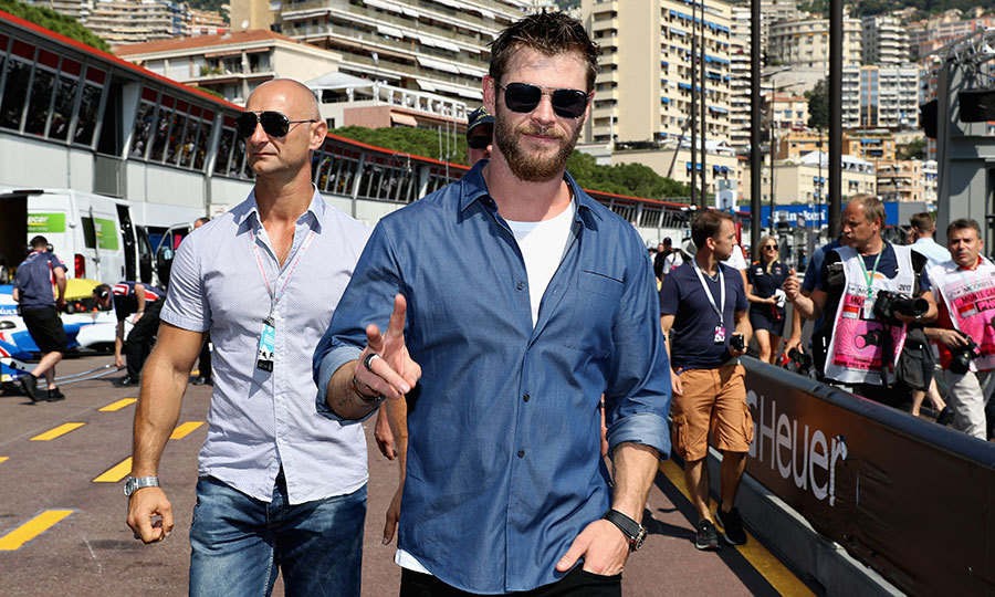 May 27: Peace! Racing fan Chris Hemsworth was spotted in the Pitlane during the Monaco Formula One Grand Prix. 