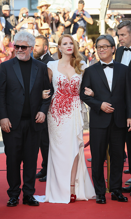 Jessica Chastain, in Zuhair Murad, was flanked by jury president Pedro Almodovar, left, and fellow jury member Chan-wook Park as Cannes came to a close. 
