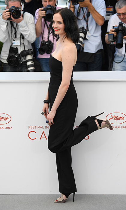 Eva Green got her kicks in a sleek Stella McCartney jumpsuit at the <I>Based on a True Story</I> daytime photo call. 