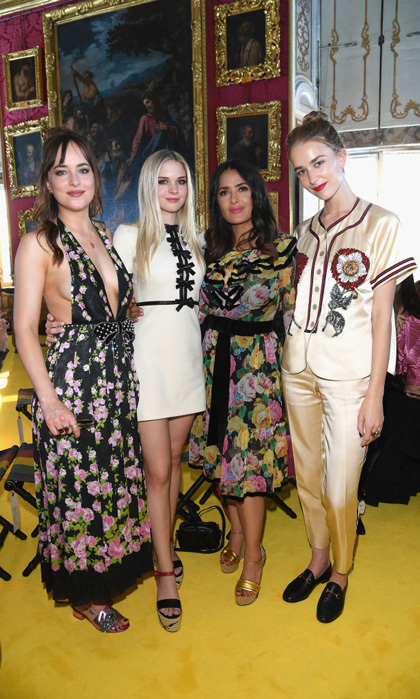 Those are some strong genes! Dakota Johnson was joined by half-sisters, Stella Banderas and Grace Johnson, and Salma Hayek at Gucci's Cruise Show in Florence, Italy.