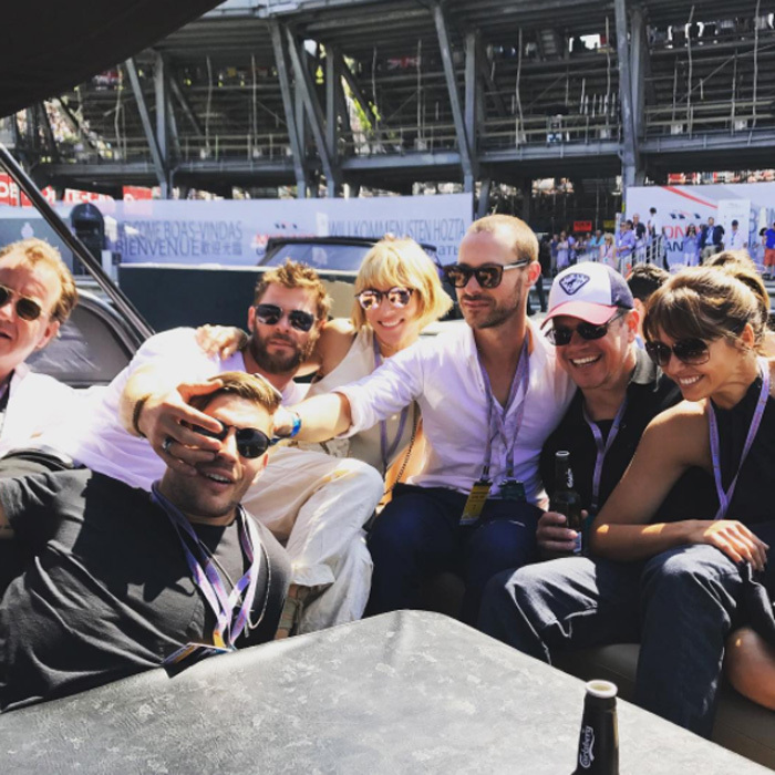 "May 28: Chris Hemsworth and Elsa Pataky had a fun weekend with Matt and Luciana Damon at the Grand Prix in Monaco. Chris shared this candid pic on Instagram writing, ""Great trip to Monaco thanks to @tagheuer #formula1.""