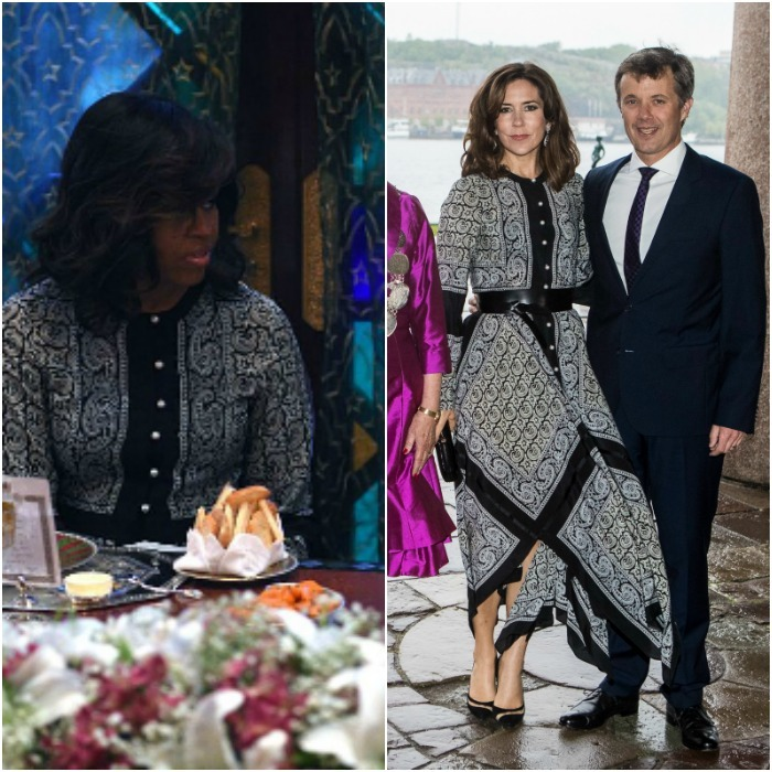 Crown Princess Mary took a page out of Michelle Obama's fashion book for her visit to Stockholm on May 30, 2017. The Danish royal and former first lady, who wore the dress during her visit to Morocco in 2016, chose to leave their hair down and wavy to complement the flowy Altuzarra Winnie dress. 