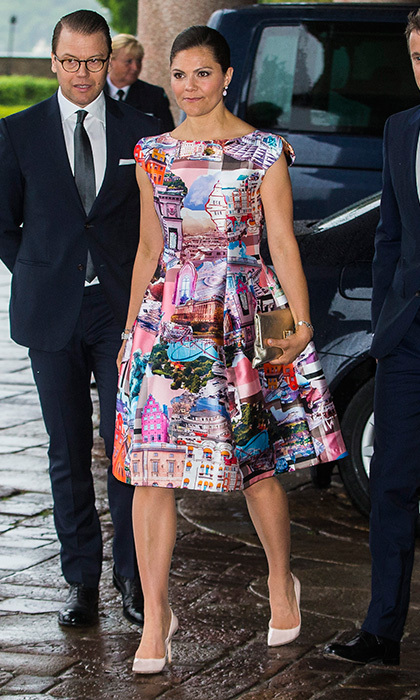 Crown Princess Victoria of Sweden wore a graphic architecture print dress to an official dinner with the Danish royals at Stockholm City Hall.