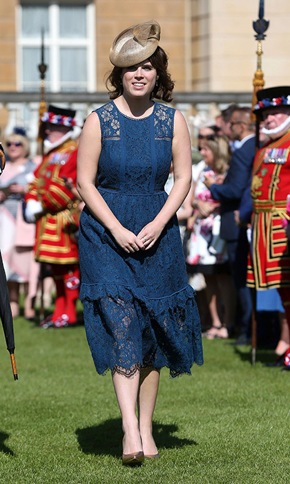 It's garden party season! Princess Eugenie picked royal blue lace for the Royal Society for the Prevention of Accidents (RoSPA) Centenary Garden Party at Buckingham Palace.