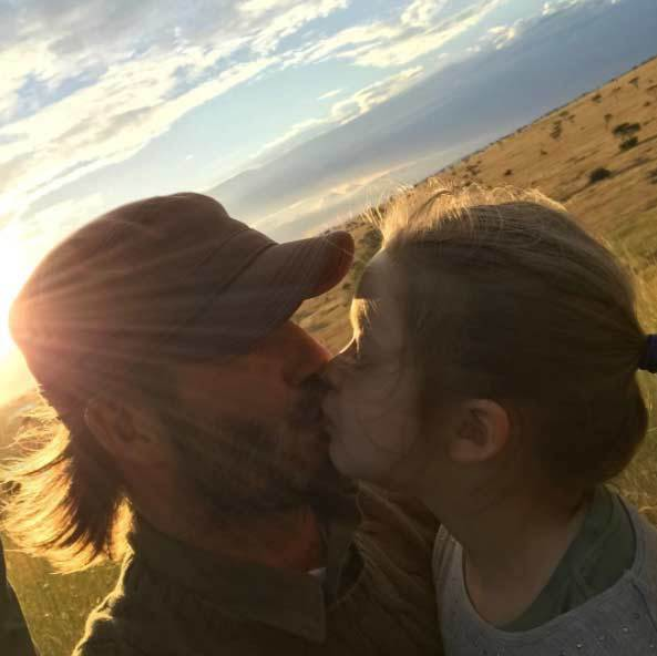 David Beckham stole a kiss from daughter Harper during the safari vacation in Africa. The former soccer player often posts precious moments with his kids, especially his youngest and only daughter.