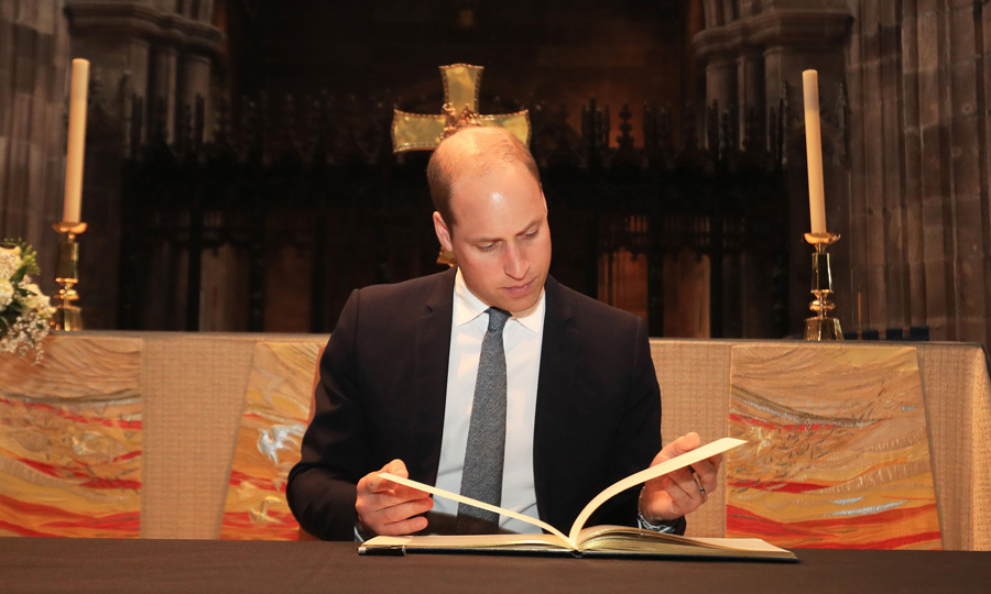"Prince William traveled to Manchester on June 2 to show his support for the city following the horrific attack that occurred at an Ariana Grande concert on May 22. The Duke of Cambridge visited Manchester Cathedral, where he signed the book of condolences. The royal's message read: ""Manchester's strength and togetherness is an example to the world. My thoughts are with those affected.""