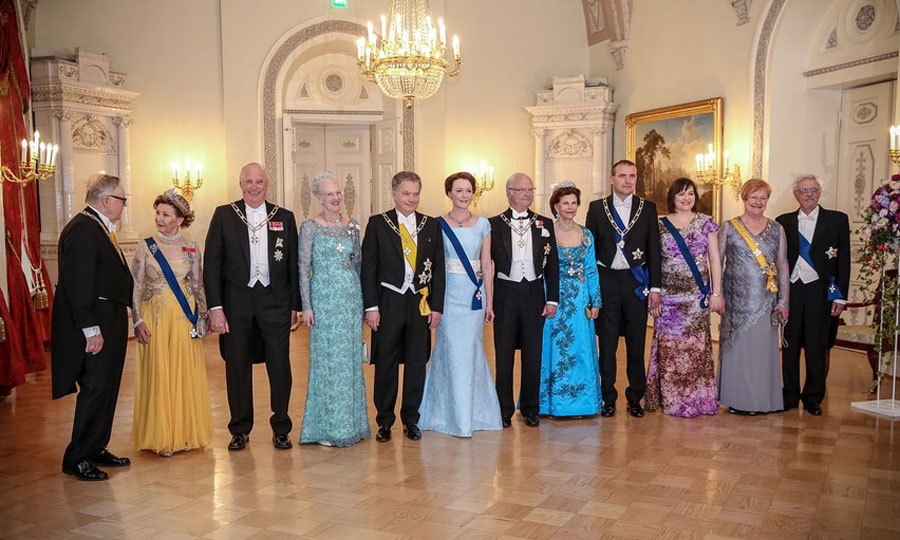 "(From left to right) Queen Sonja and King Harald of Norway, Margrethe II of Denmark, Finland's President Sauli Niinistö and Mrs. Jenni Haukio, King Carl XVI Gustav and Queen Silvia of Sweden and two other couples dressed up in their best for a gala dinner held at the Presidential Palace in Helsinki in honor of ""Nordic Fest"" to celebrate Finland's 100th anniversary.
